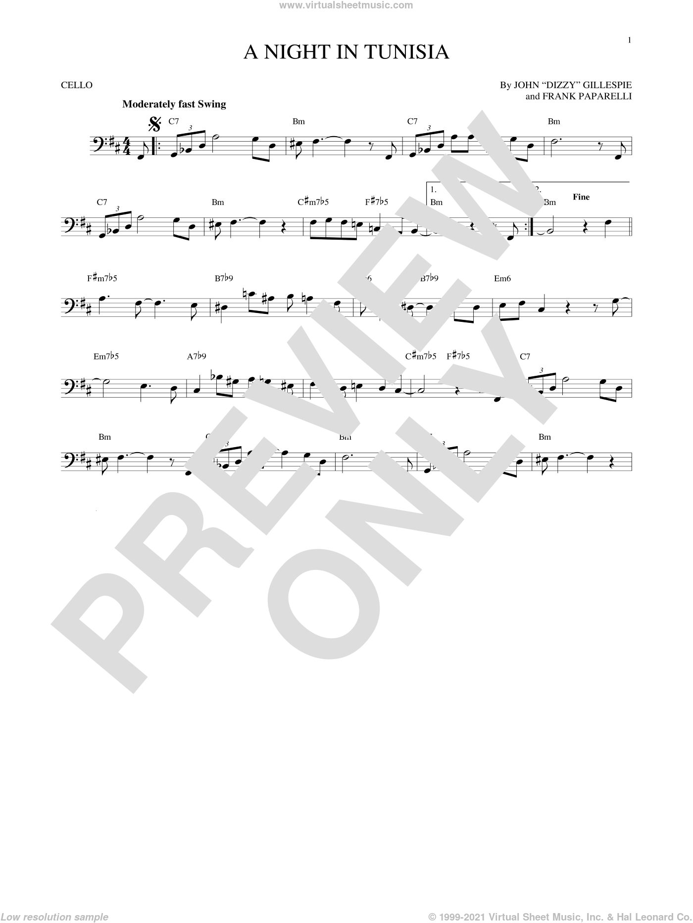A Night In Tunisia sheet music for cello solo by Dizzy Gillespie and Frank Paparelli, intermediate. Score Image Preview.
