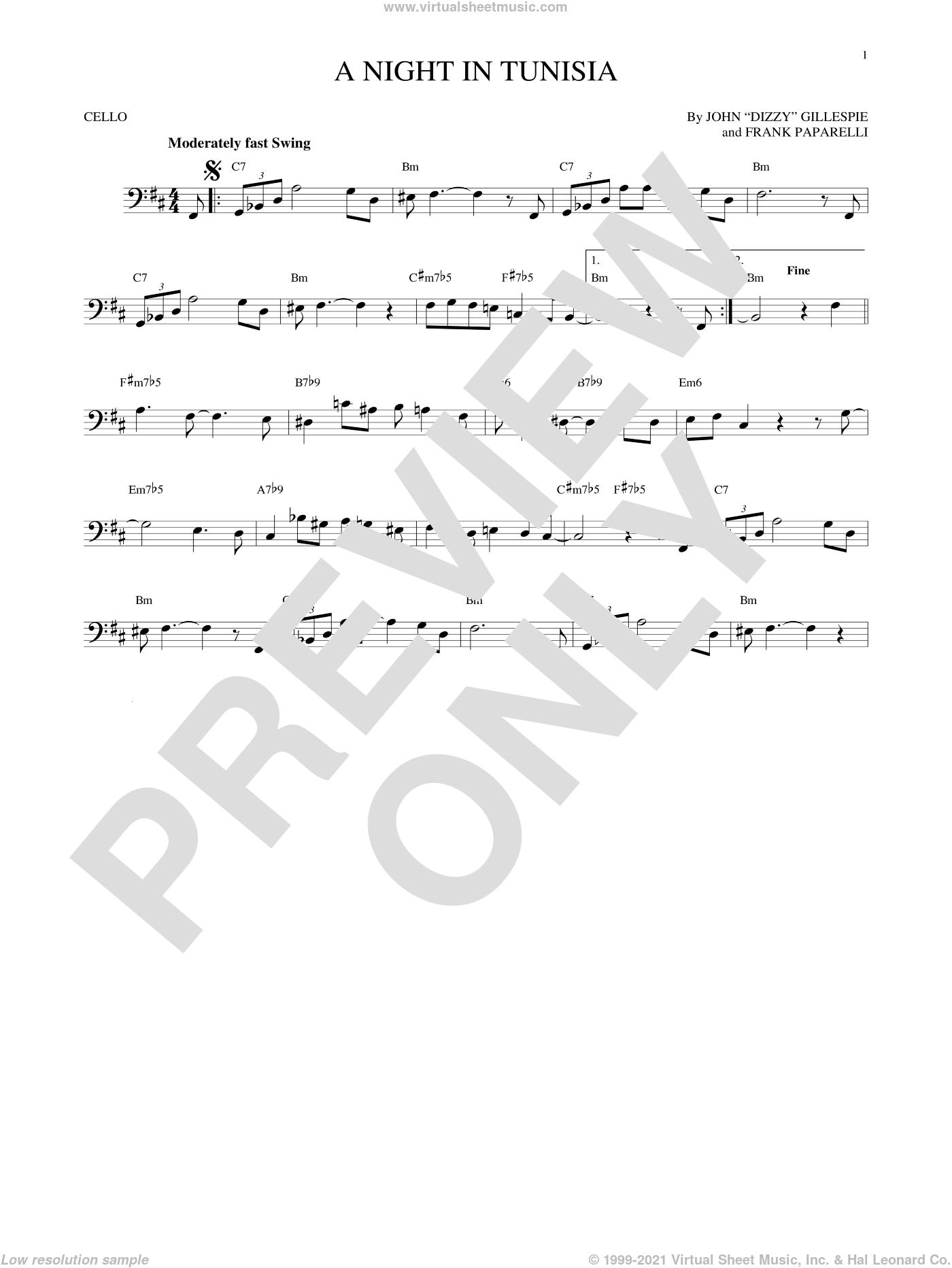 A Night In Tunisia sheet music for cello solo by Dizzy Gillespie and Frank Paparelli, intermediate skill level