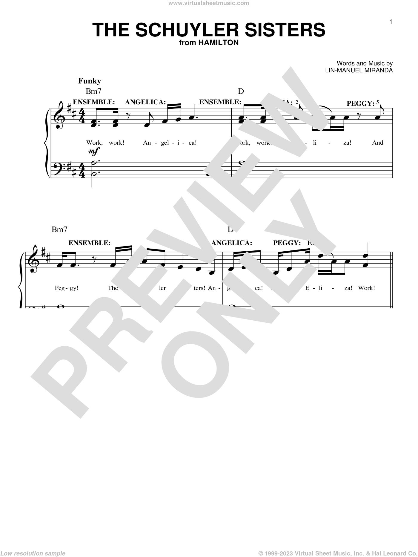 The Schuyler Sisters (from Hamilton) sheet music for piano solo by Lin-Manuel Miranda, easy skill level
