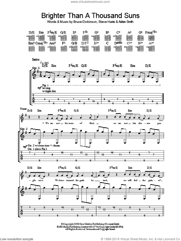 Brighter Than A Thousand Suns sheet music for guitar (tablature) by Iron Maiden, Adrian Smith, Bruce Dickinson and Steve Harris, intermediate. Score Image Preview.