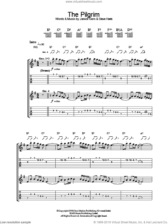 The Pilgrim sheet music for guitar (tablature) by Iron Maiden and Steve Harris. Score Image Preview.