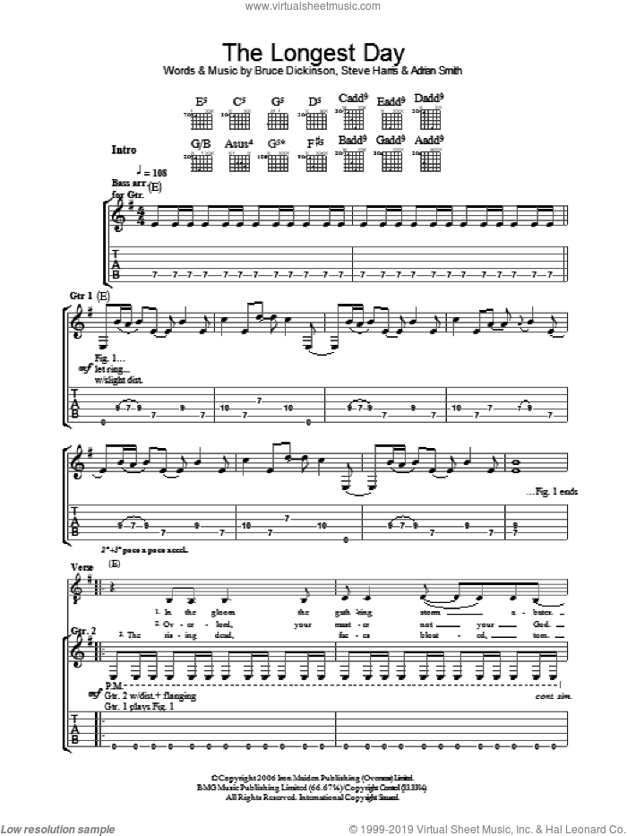The Longest Day sheet music for guitar (tablature) by Adrian Smith