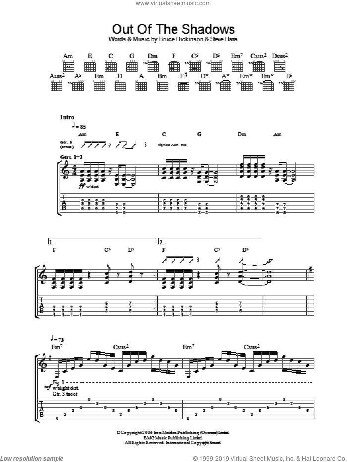 Out Of The Shadows sheet music for guitar (tablature) by Iron Maiden, Bruce Dickinson and Steve Harris, intermediate. Score Image Preview.
