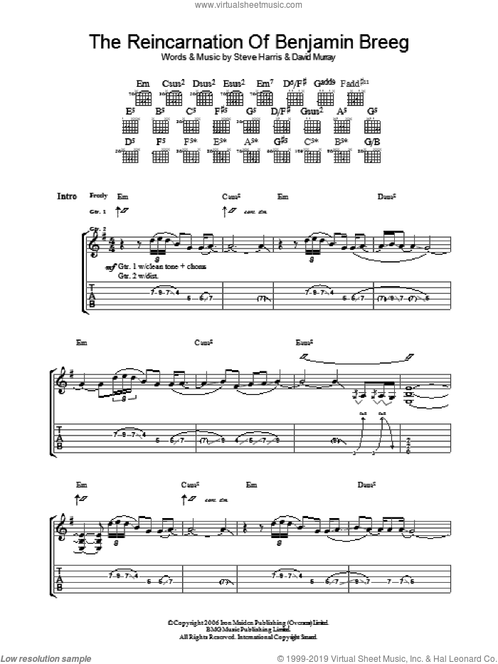 The Reincarnation Of Benjamin Breeg sheet music for guitar (tablature) by Iron Maiden and Steve Harris, intermediate guitar (tablature). Score Image Preview.
