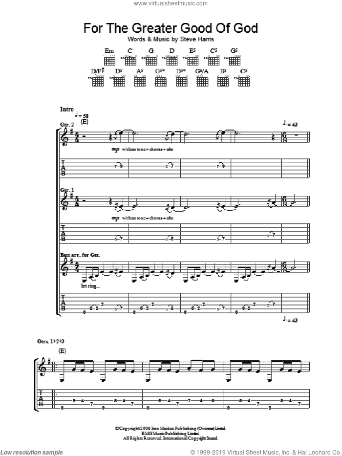 For The Greater Good Of God sheet music for guitar (tablature) by Iron Maiden and Steve Harris, intermediate