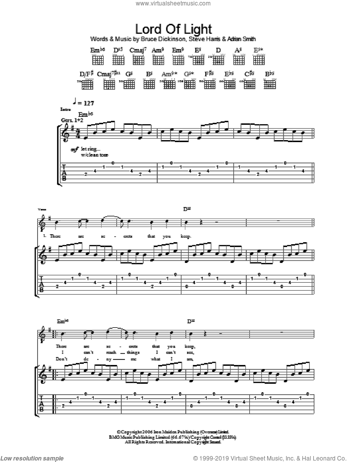 Lord Of Light sheet music for guitar (tablature) by Iron Maiden, Adrian Smith, Bruce Dickinson and Steve Harris. Score Image Preview.