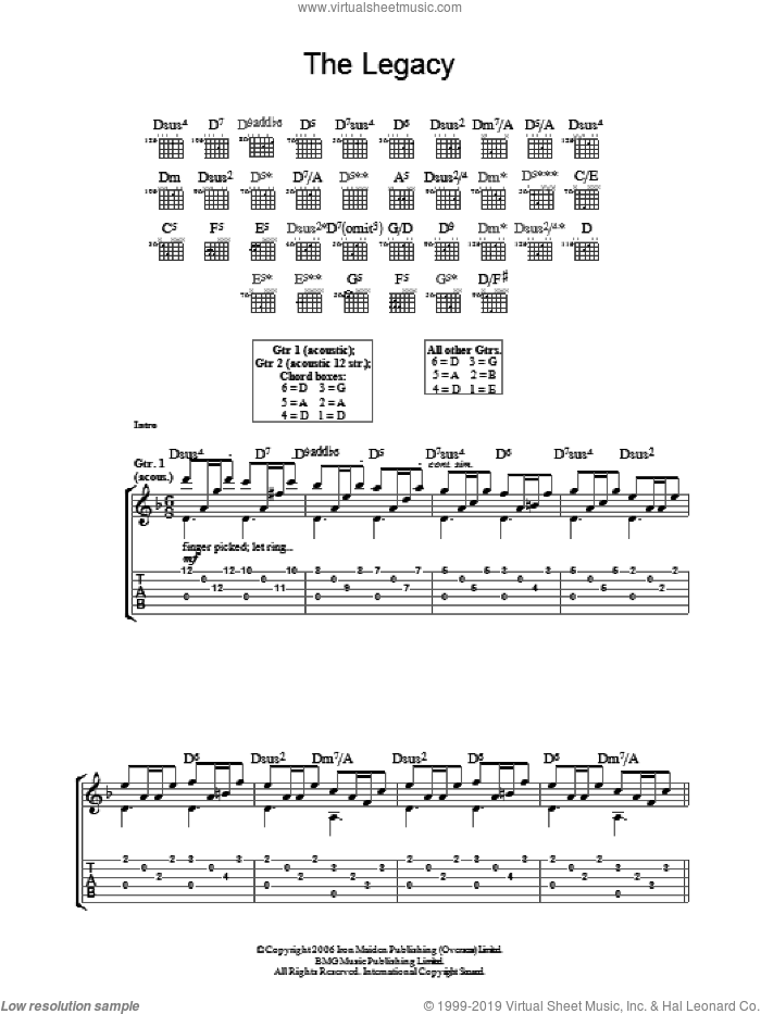 The Legacy sheet music for guitar (tablature) by Iron Maiden and Steve Harris, intermediate. Score Image Preview.