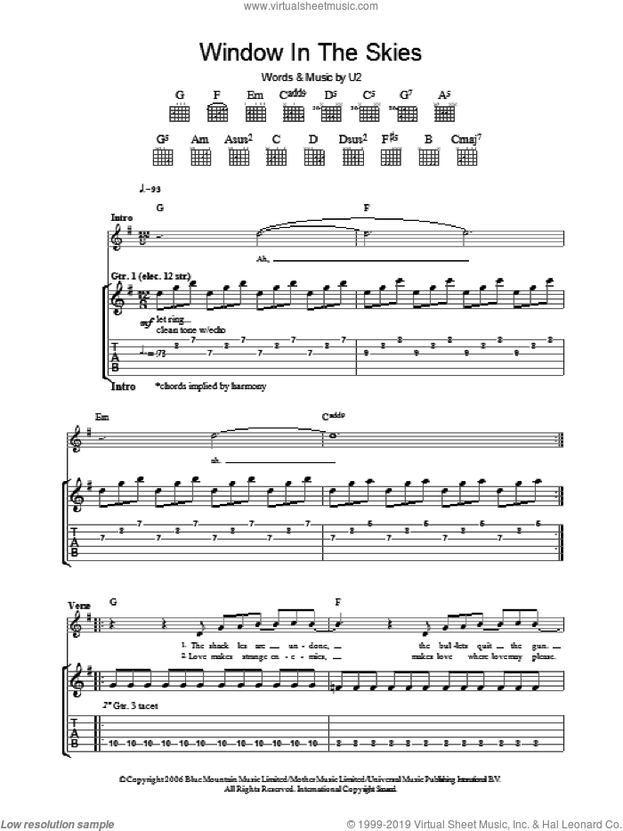 Window In The Skies sheet music for guitar (tablature) by U2. Score Image Preview.