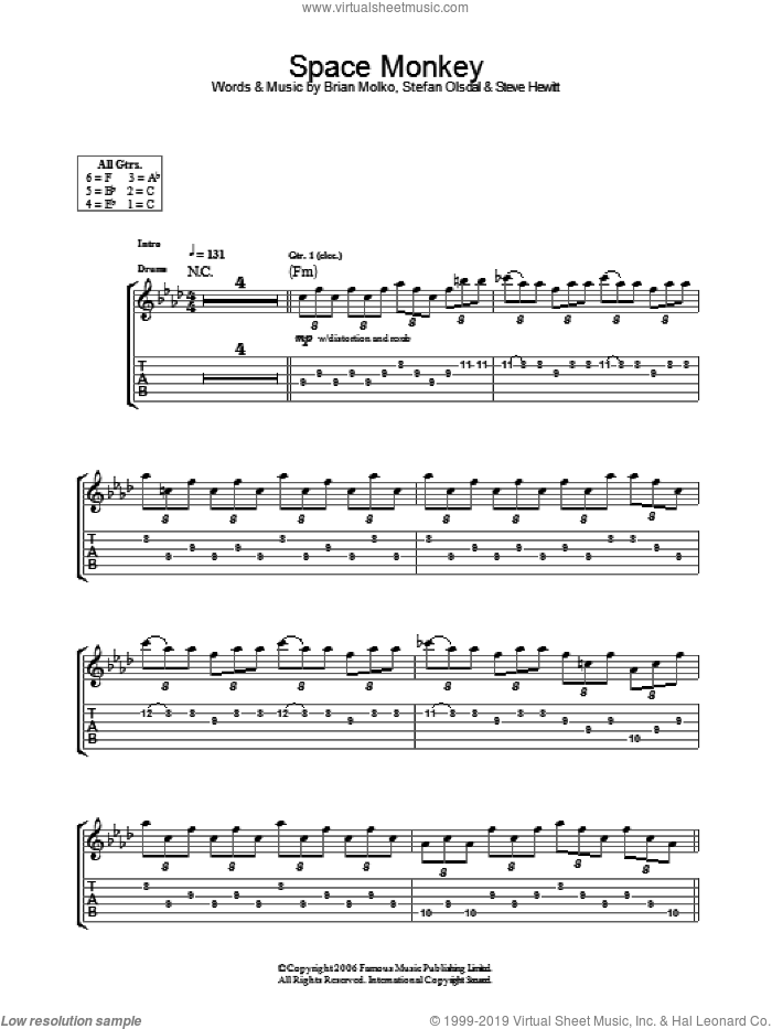 Space Monkey sheet music for guitar (tablature) by Placebo, Brian Molko, Stefan Olsdal and Steve Hewitt, intermediate skill level