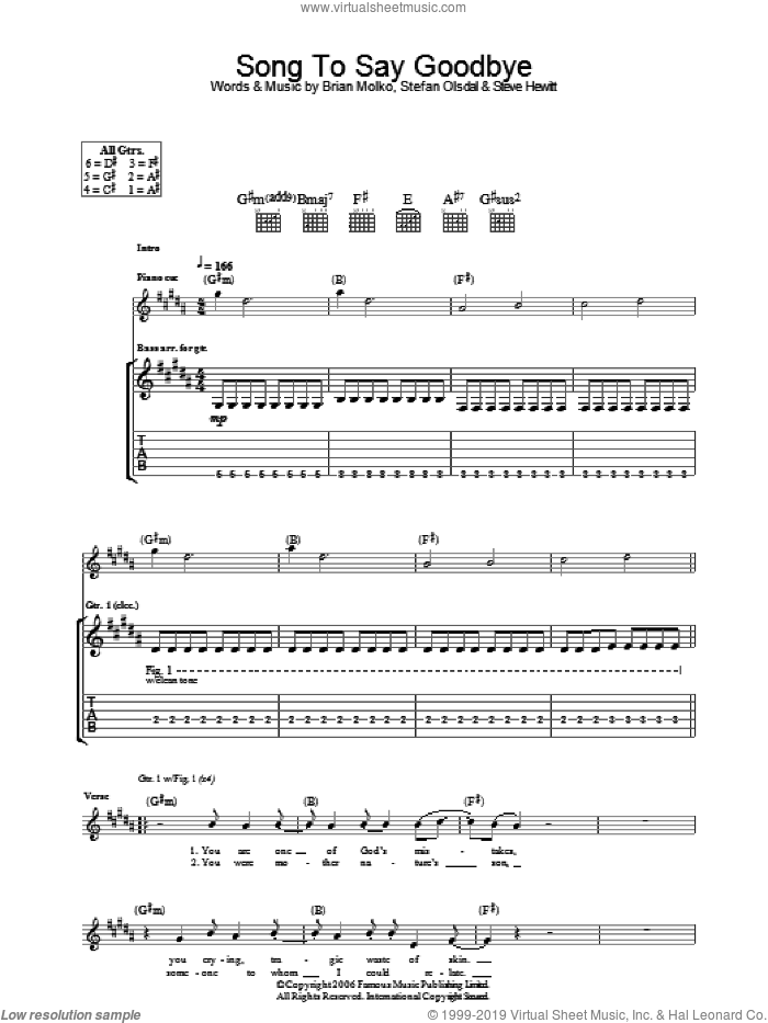 Song To Say Goodbye sheet music for guitar (tablature) by Placebo, Brian Molko, Stefan Olsdal and Steve Hewitt, intermediate skill level