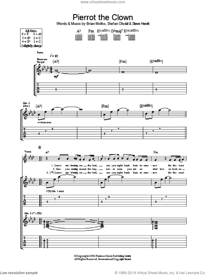Pierrot The Clown sheet music for guitar (tablature) by Brian Molko, Stefan Olsdal and Steve Hewitt. Score Image Preview.