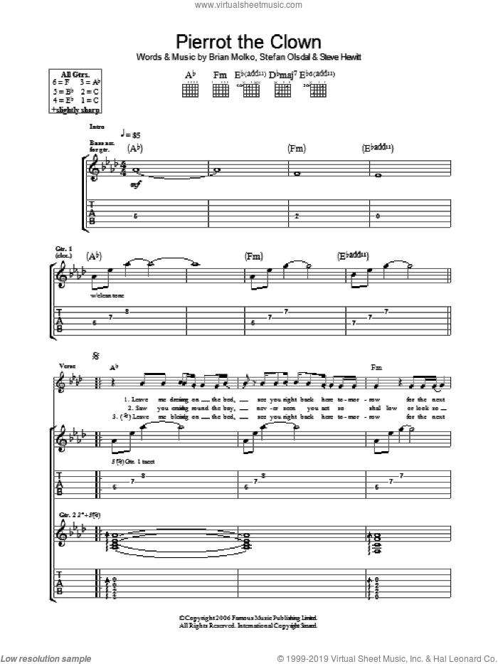 Pierrot The Clown sheet music for guitar (tablature) by Placebo, Brian Molko, Stefan Olsdal and Steve Hewitt, intermediate skill level