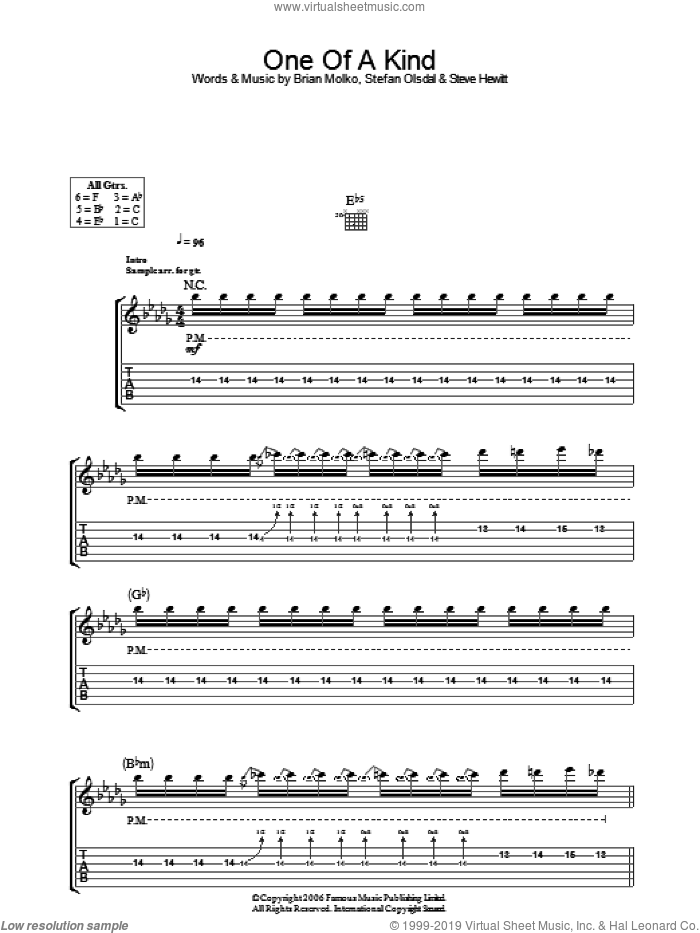 One Of A Kind sheet music for guitar (tablature) by Brian Molko, Stefan Olsdal and Steve Hewitt. Score Image Preview.