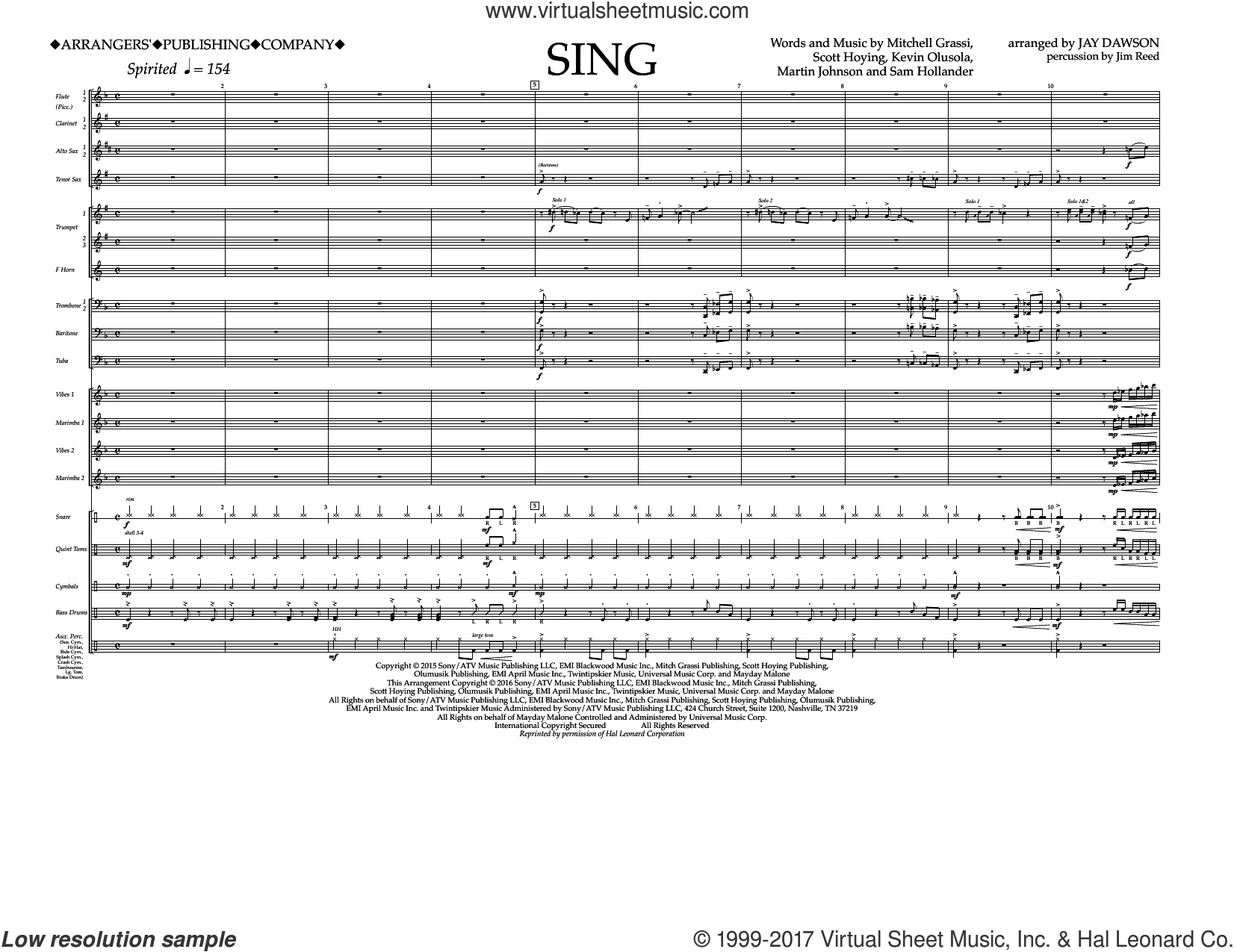 Sing (COMPLETE) sheet music for marching band by Pentatonix, Jay Dawson, Kevin Olusola, Martin Johnson, Mitchell Grassi, Sam Hollander and Scott Hoying, intermediate. Score Image Preview.