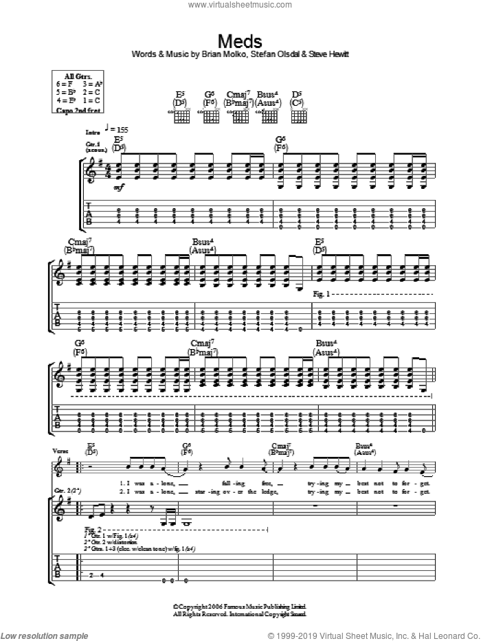Meds sheet music for guitar (tablature) by Brian Molko, Stefan Olsdal and Steve Hewitt. Score Image Preview.