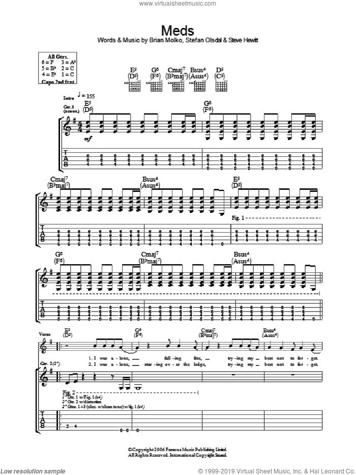 Meds sheet music for guitar (tablature) by Placebo, Brian Molko, Stefan Olsdal and Steve Hewitt, intermediate skill level