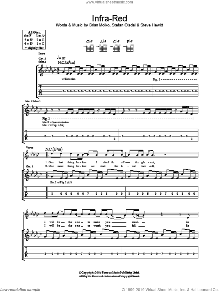 Infra-Red sheet music for guitar (tablature) by Placebo, Brian Molko, Stefan Olsdal and Steve Hewitt, intermediate skill level