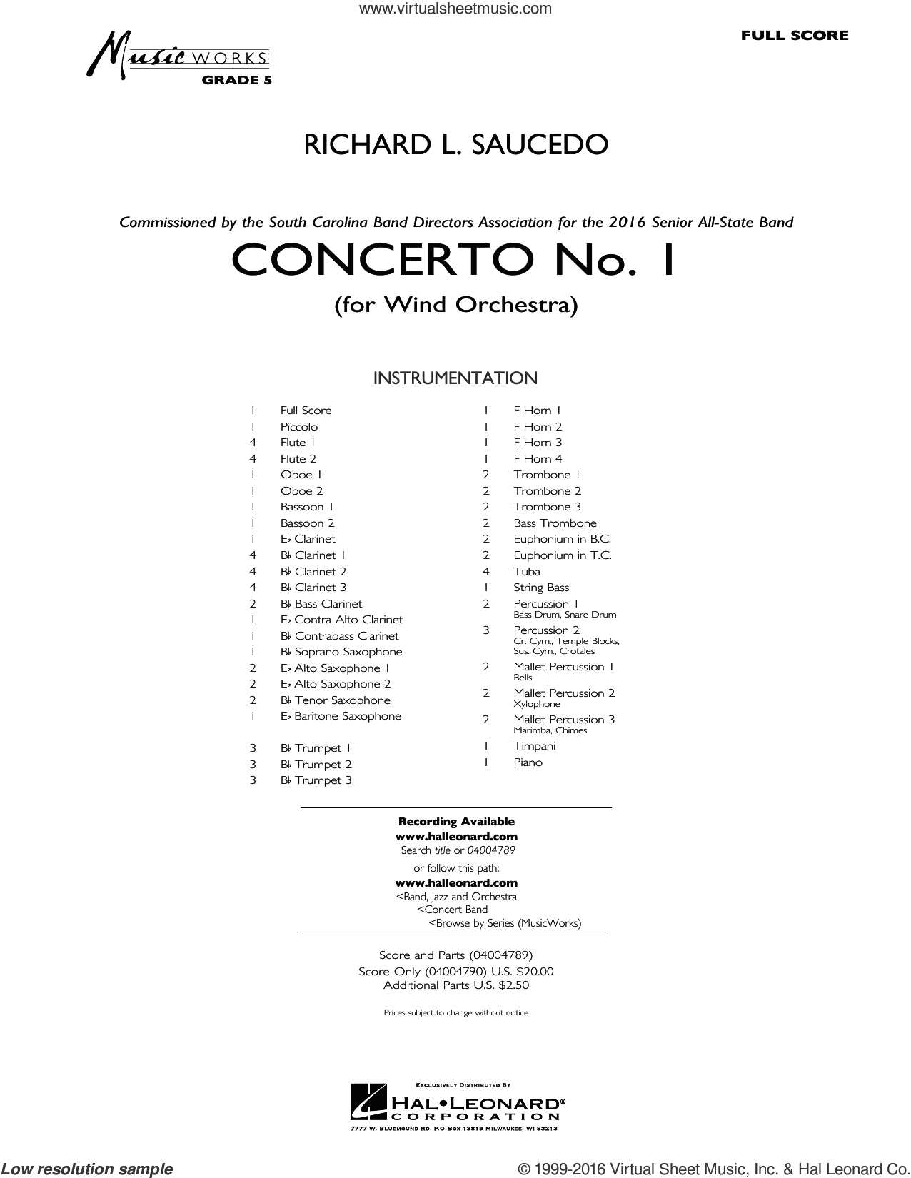 Concerto No. 1 (for Wind Orchestra) sheet music for concert band (full score) by Richard L. Saucedo. Score Image Preview.