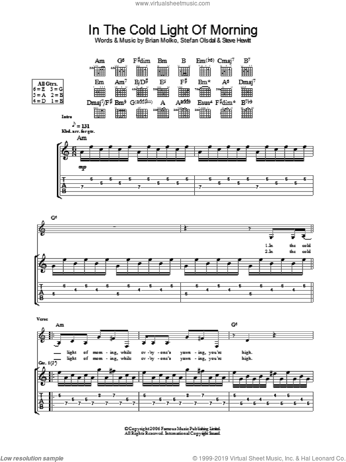 In The Cold Light Of Morning sheet music for guitar (tablature) by Brian Molko, Stefan Olsdal and Steve Hewitt. Score Image Preview.