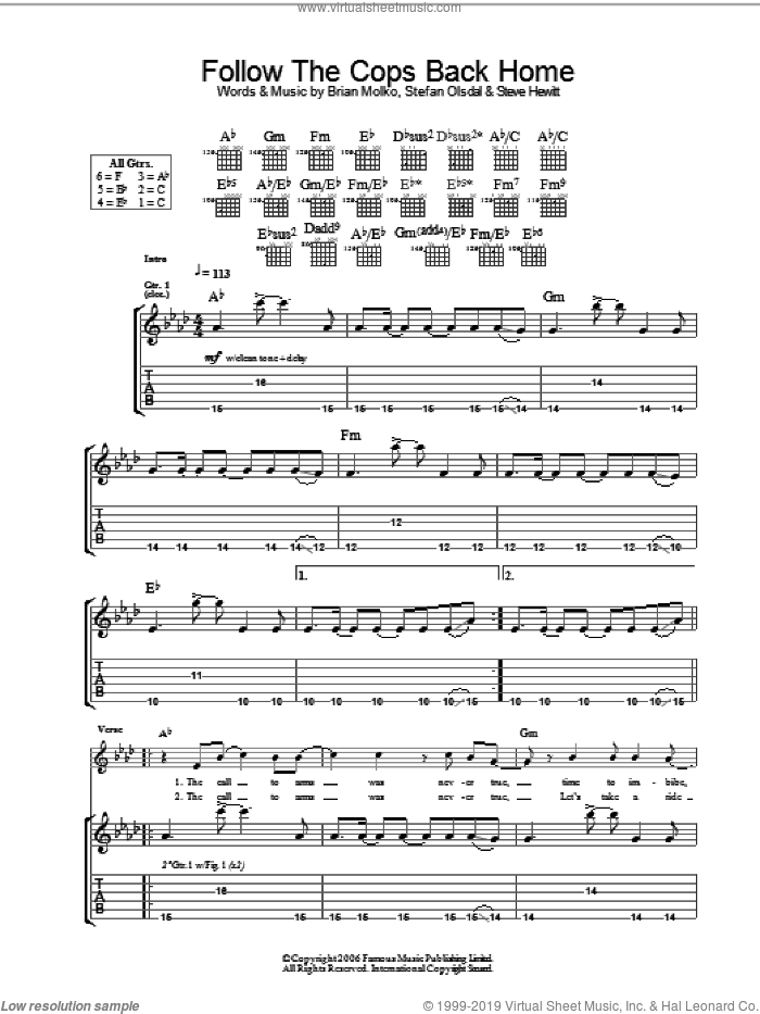 Follow The Cops Back Home sheet music for guitar (tablature) by Placebo, Brian Molko, Stefan Olsdal and Steve Hewitt, intermediate. Score Image Preview.