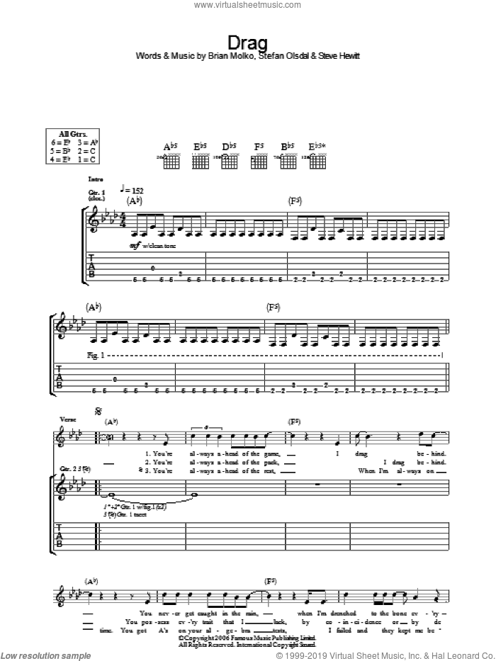 Drag sheet music for guitar (tablature) by Brian Molko