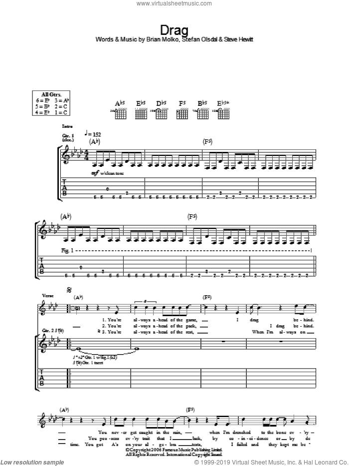 Drag sheet music for guitar (tablature) by Placebo, Brian Molko, Stefan Olsdal and Steve Hewitt, intermediate skill level