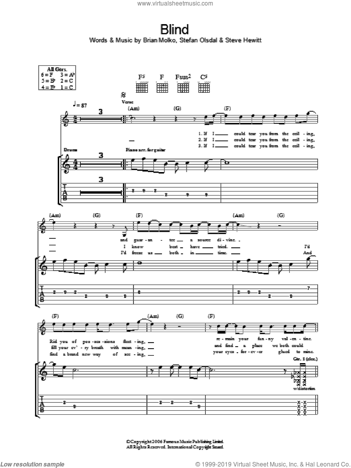 Blind sheet music for guitar (tablature) by Brian Molko, Stefan Olsdal and Steve Hewitt. Score Image Preview.