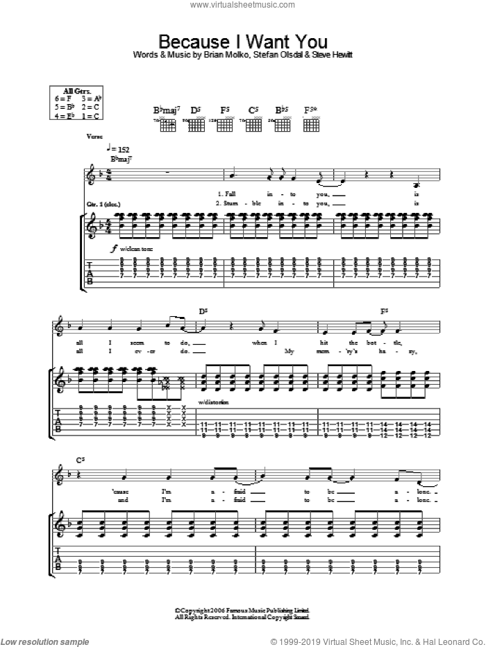 Because I Want You sheet music for guitar (tablature) by Placebo. Score Image Preview.