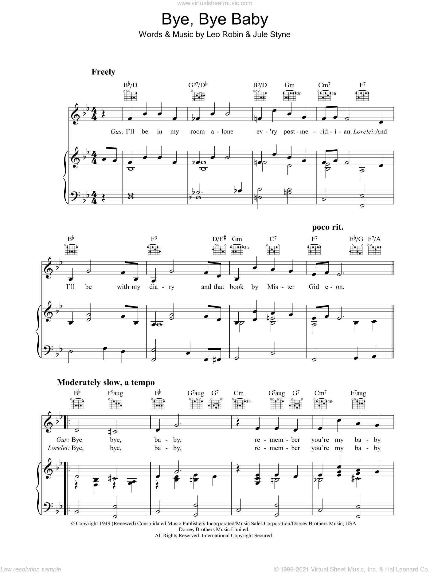 Bye Bye Baby sheet music for voice, piano or guitar by Marilyn Monroe, Jule Styne and Leo Robin, intermediate skill level