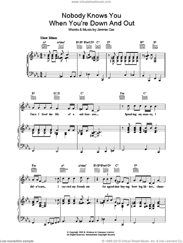 Nobody Knows You When You're Down And Out sheet music for voice, piano or guitar by Jimmie Cox. Score Image Preview.