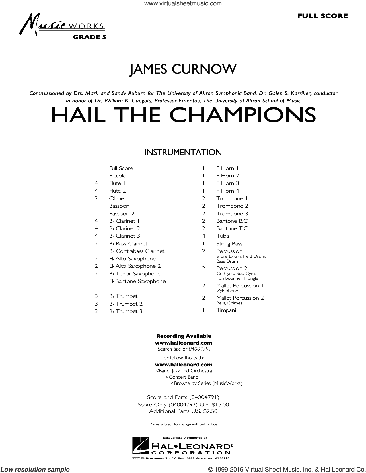 Hail the Champions sheet music for concert band (full score) by James Curnow. Score Image Preview.
