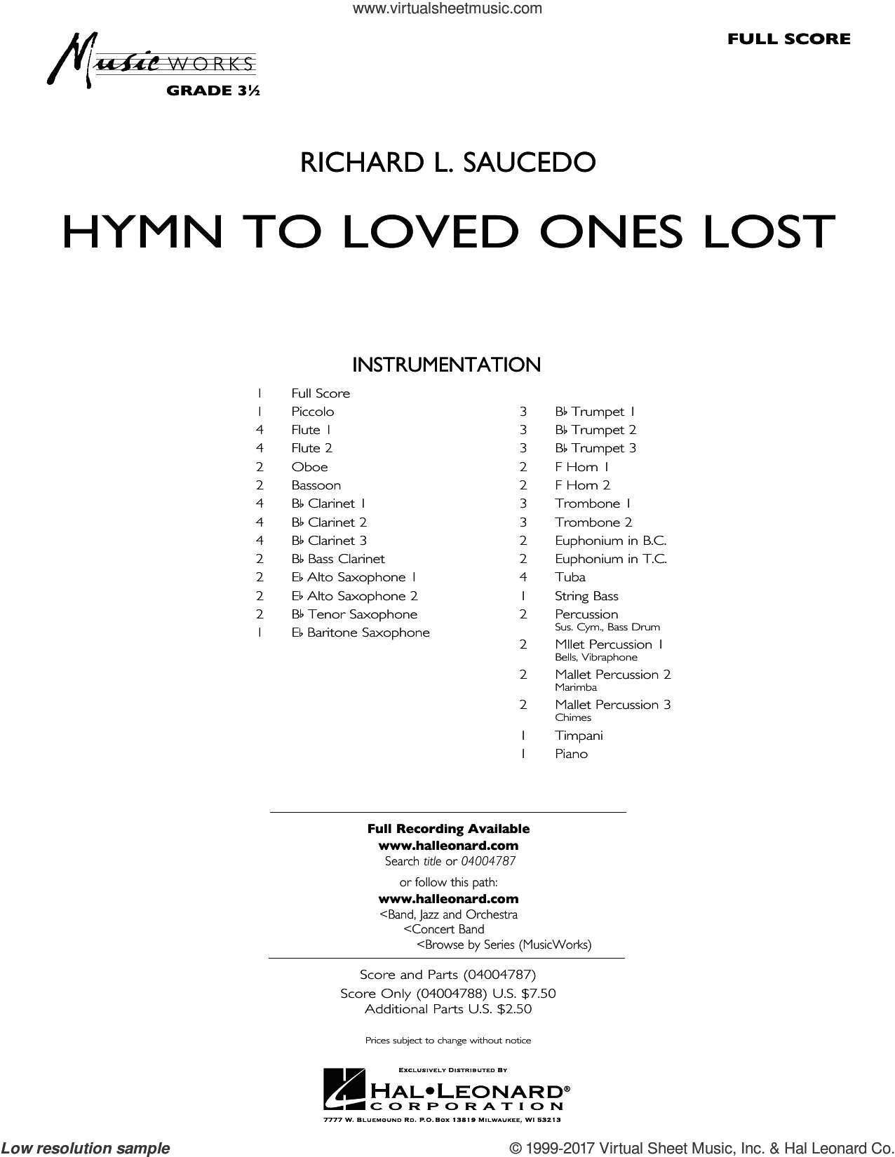 Hymn to Loved Ones Lost (COMPLETE) sheet music for concert band by Richard L. Saucedo, intermediate. Score Image Preview.
