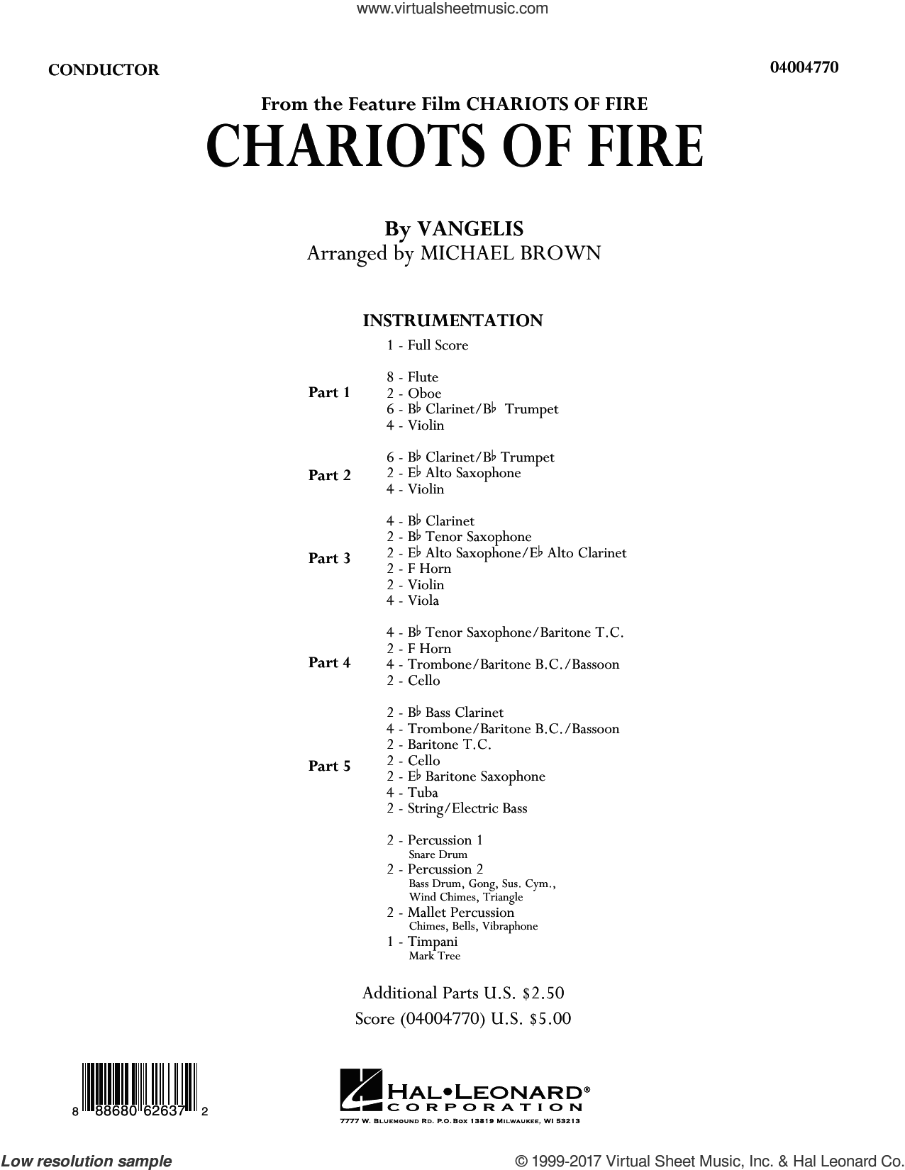 Chariots of Fire (COMPLETE) sheet music for concert band by Michael Brown and Vangelis, intermediate. Score Image Preview.