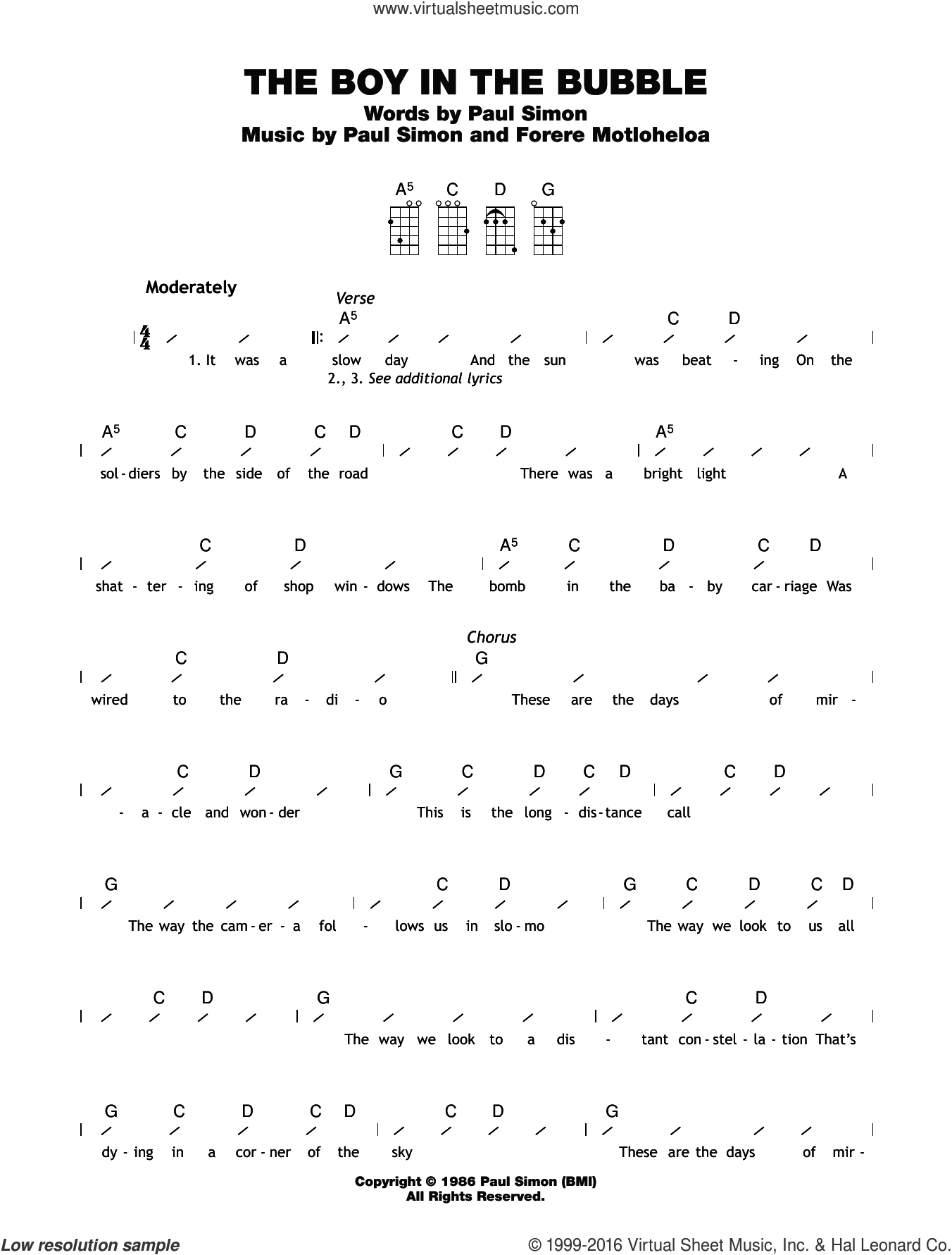 The Boy In The Bubble sheet music for ukulele (chords) by Forere Motloheloa and Paul Simon. Score Image Preview.