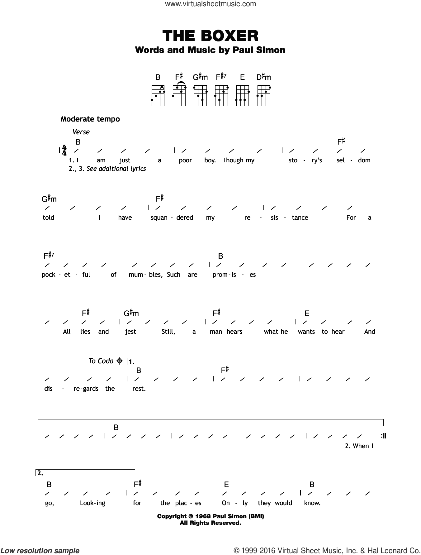 The Boxer sheet music for ukulele (chords) by Simon & Garfunkel, Paul & Garfunkel, Art Simon and Paul Simon, intermediate. Score Image Preview.
