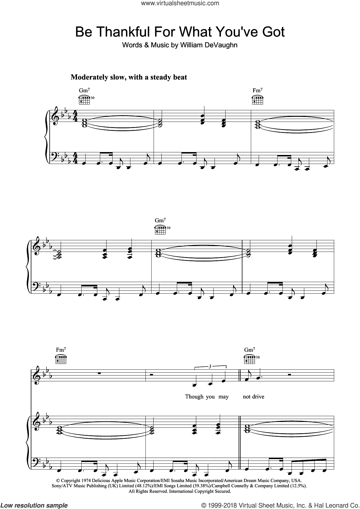 Be Thankful For What You Got sheet music for voice, piano or guitar by William DeVaughan and William DeVaughn, intermediate. Score Image Preview.