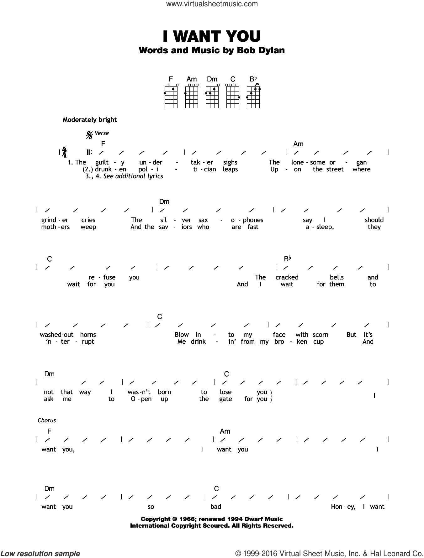 I Want You sheet music for ukulele (chords) by Bob Dylan, intermediate skill level