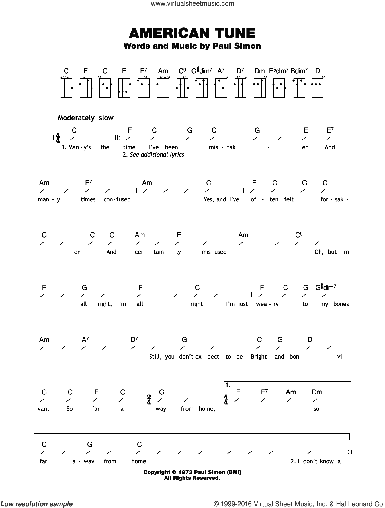 American Tune sheet music for ukulele (chords) by Paul Simon and Eva Cassidy. Score Image Preview.