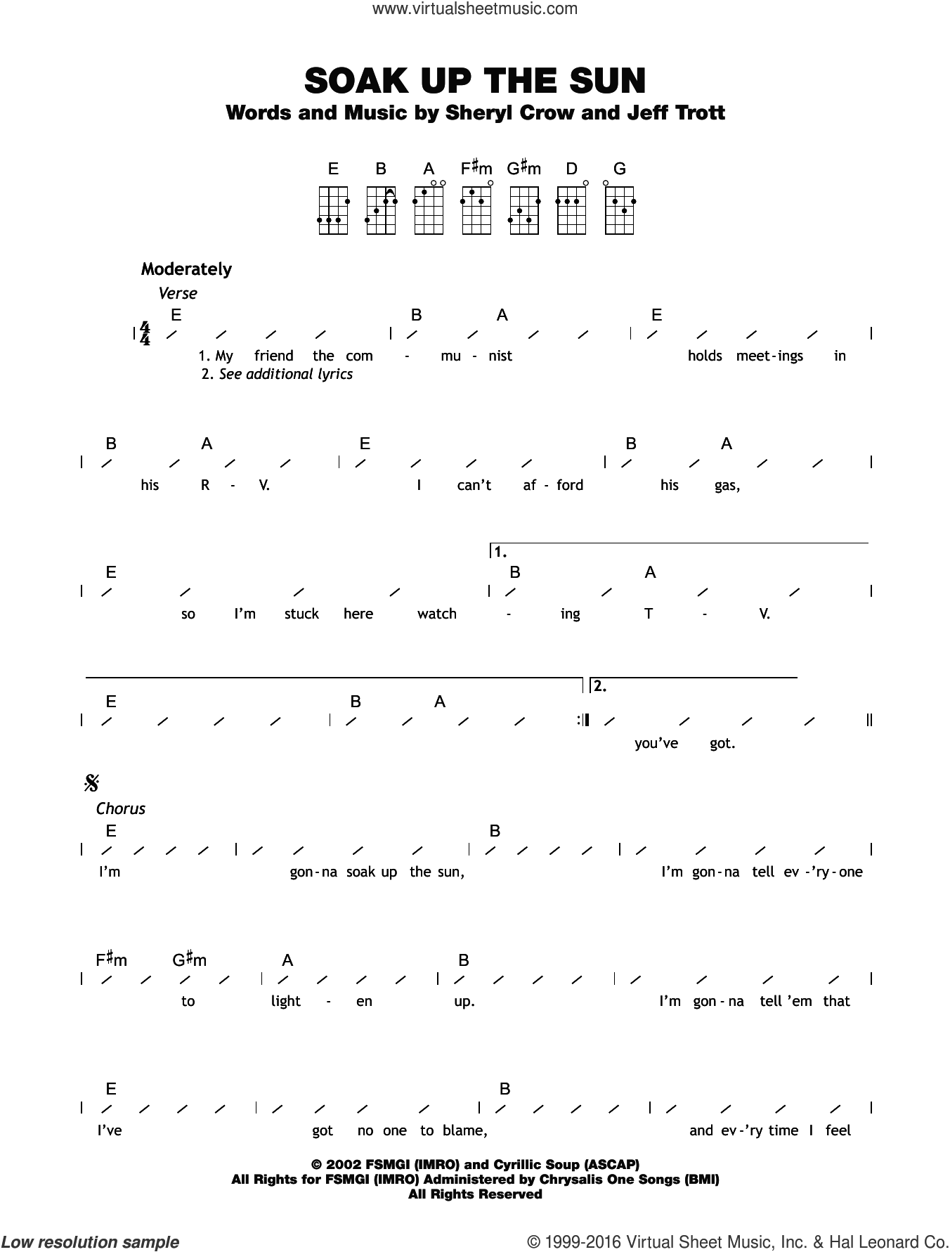 Soak Up The Sun sheet music for ukulele (chords) by Sheryl Crow and Jeff Trott. Score Image Preview.