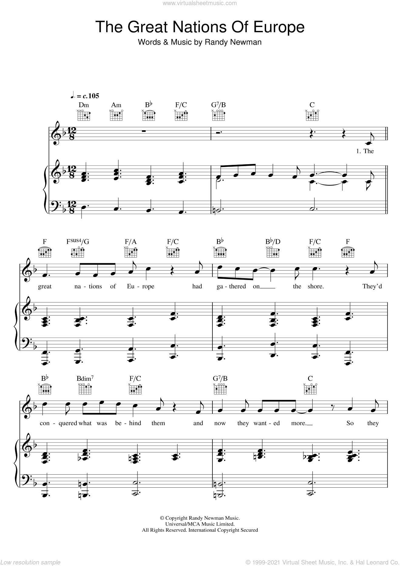 The Great Nations Of Europe sheet music for voice, piano or guitar by Randy Newman, intermediate skill level