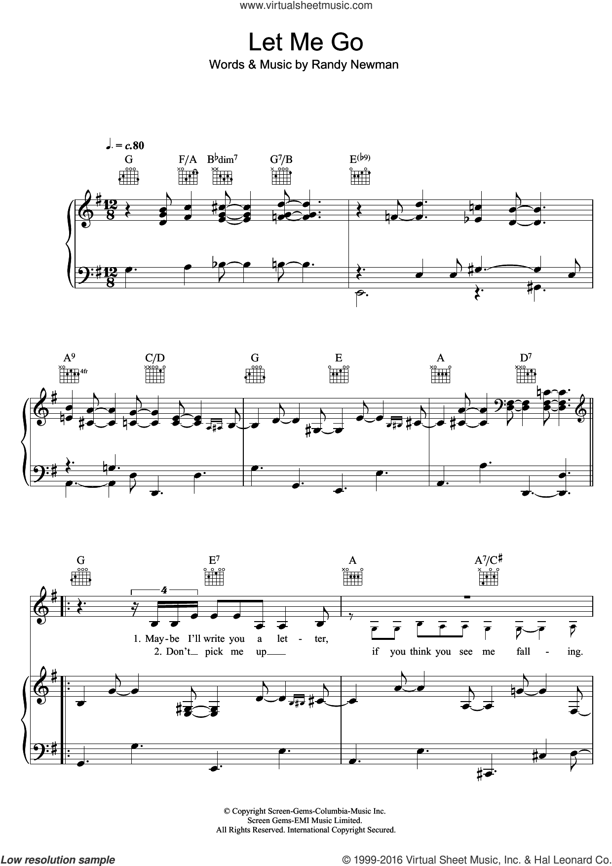 Let Me Go sheet music for voice, piano or guitar by Randy Newman. Score Image Preview.