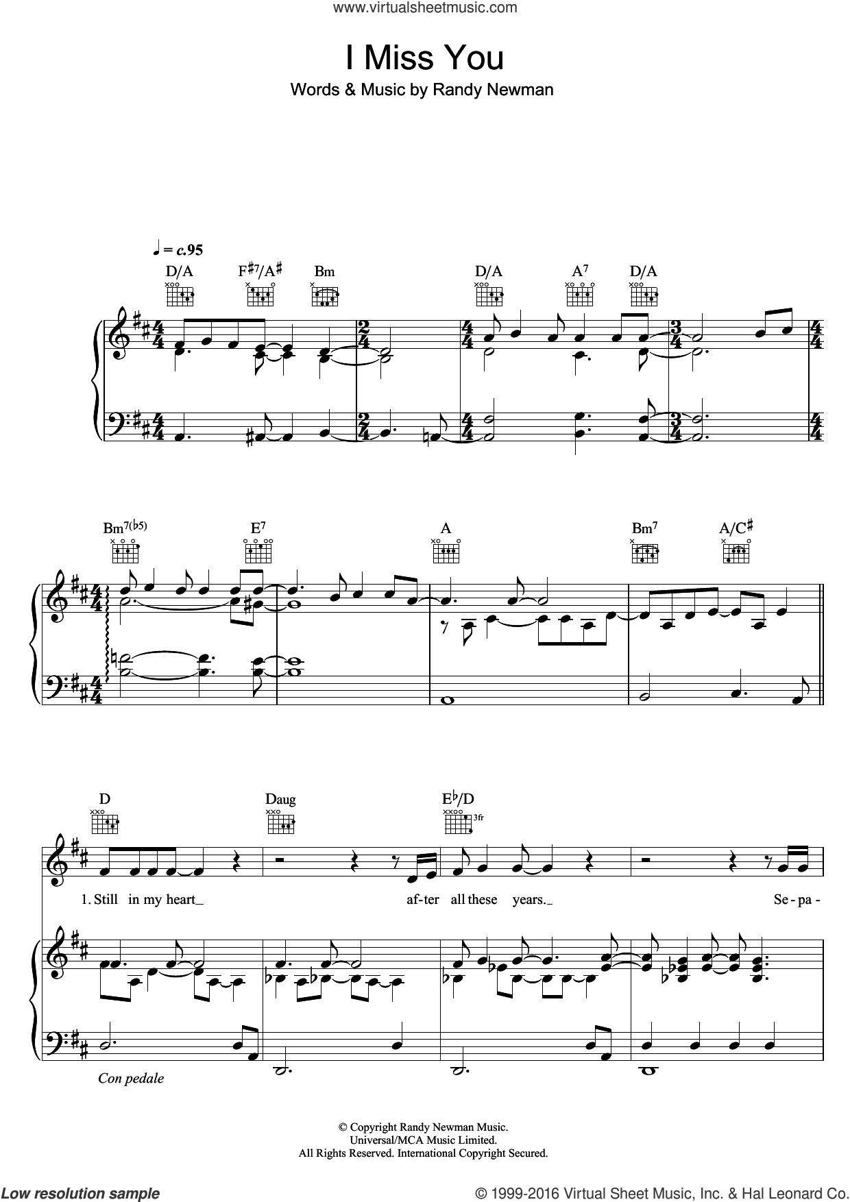 I Miss You sheet music for voice, piano or guitar by Randy Newman, intermediate skill level