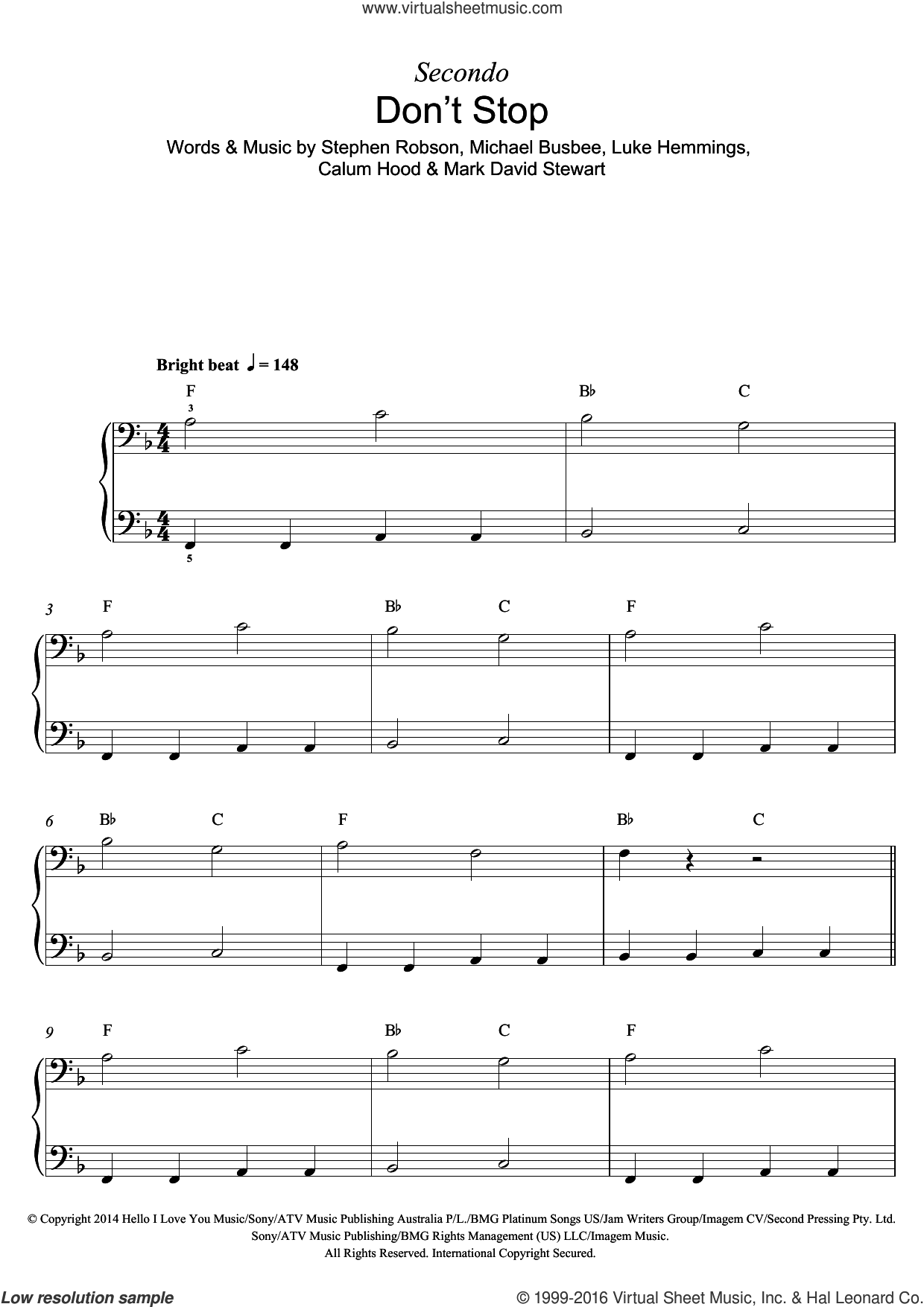 Don't Stop sheet music for piano solo by Steve Robson, Calum Hood, Luke Hemmings and Michael Busbee. Score Image Preview.