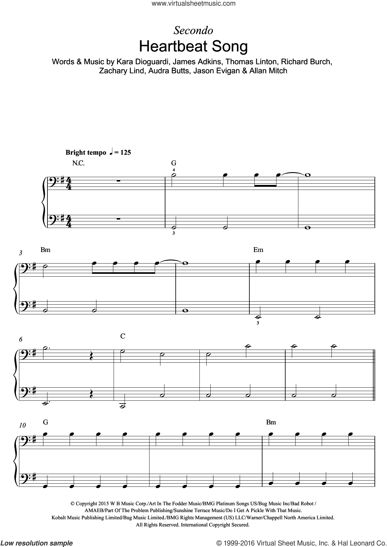 Heartbeat Song sheet music for piano solo by Zachary Lind, Kelly Clarkson, Audra Butts, James Adkins, Jason Evigan, Kara DioGuardi, Richard Burch and Thomas Linton. Score Image Preview.