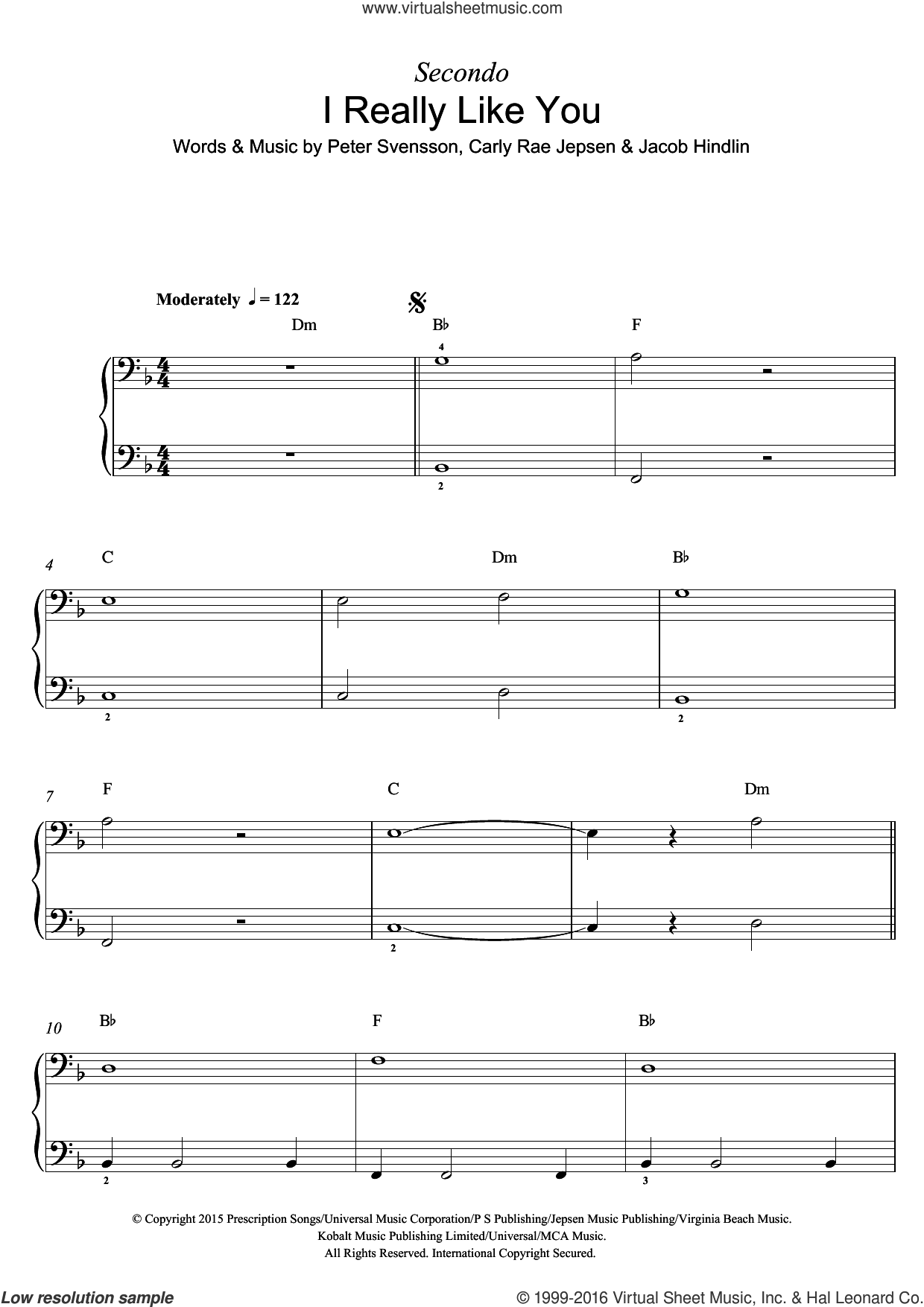 I Really Like You sheet music for piano solo by Carly Rae Jepsen, Jacob Hindlin and Peter Svensson, intermediate skill level