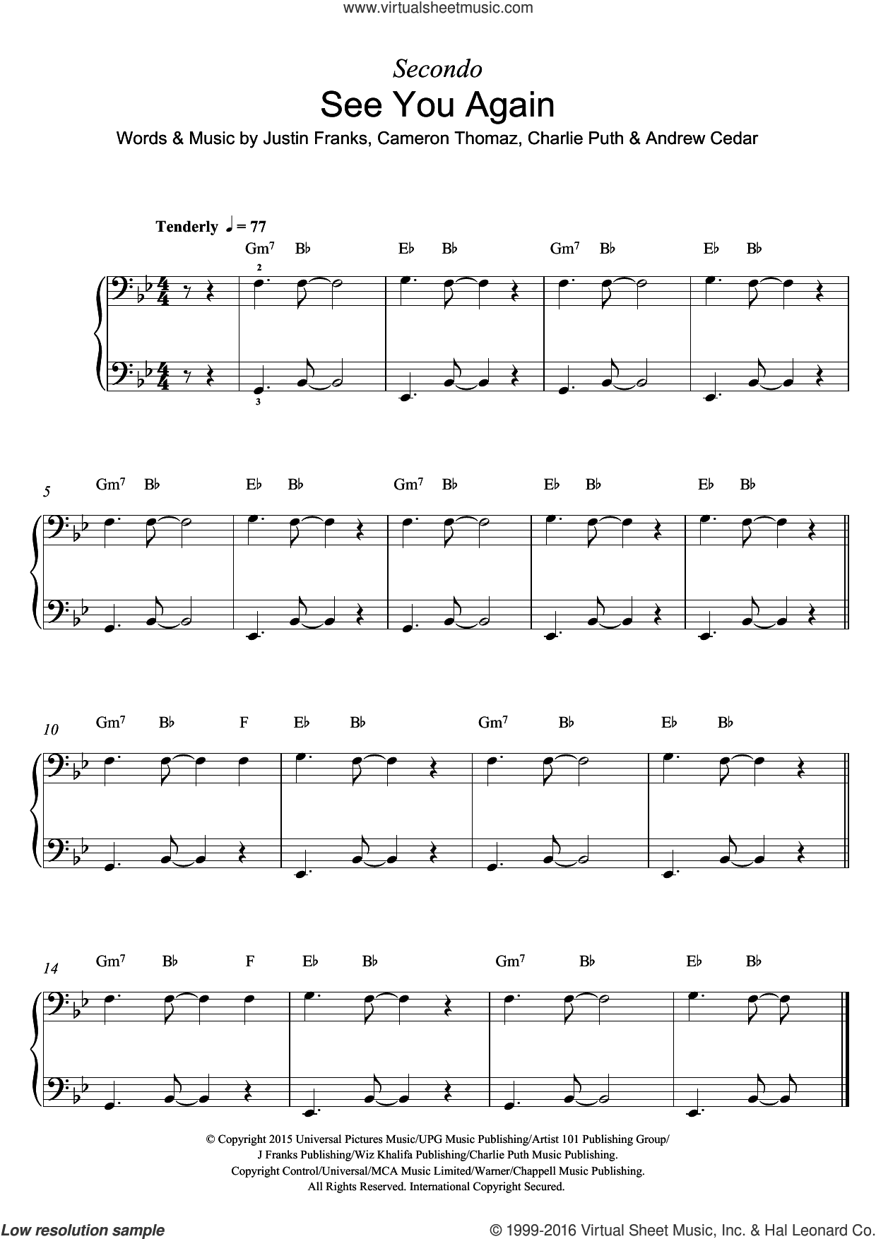 See You Again (featuring Charlie Puth) sheet music for piano solo by Wiz Khalifa, Andrew Cedar, Cameron Thomaz, Charlie Puth and Justin Franks, intermediate skill level