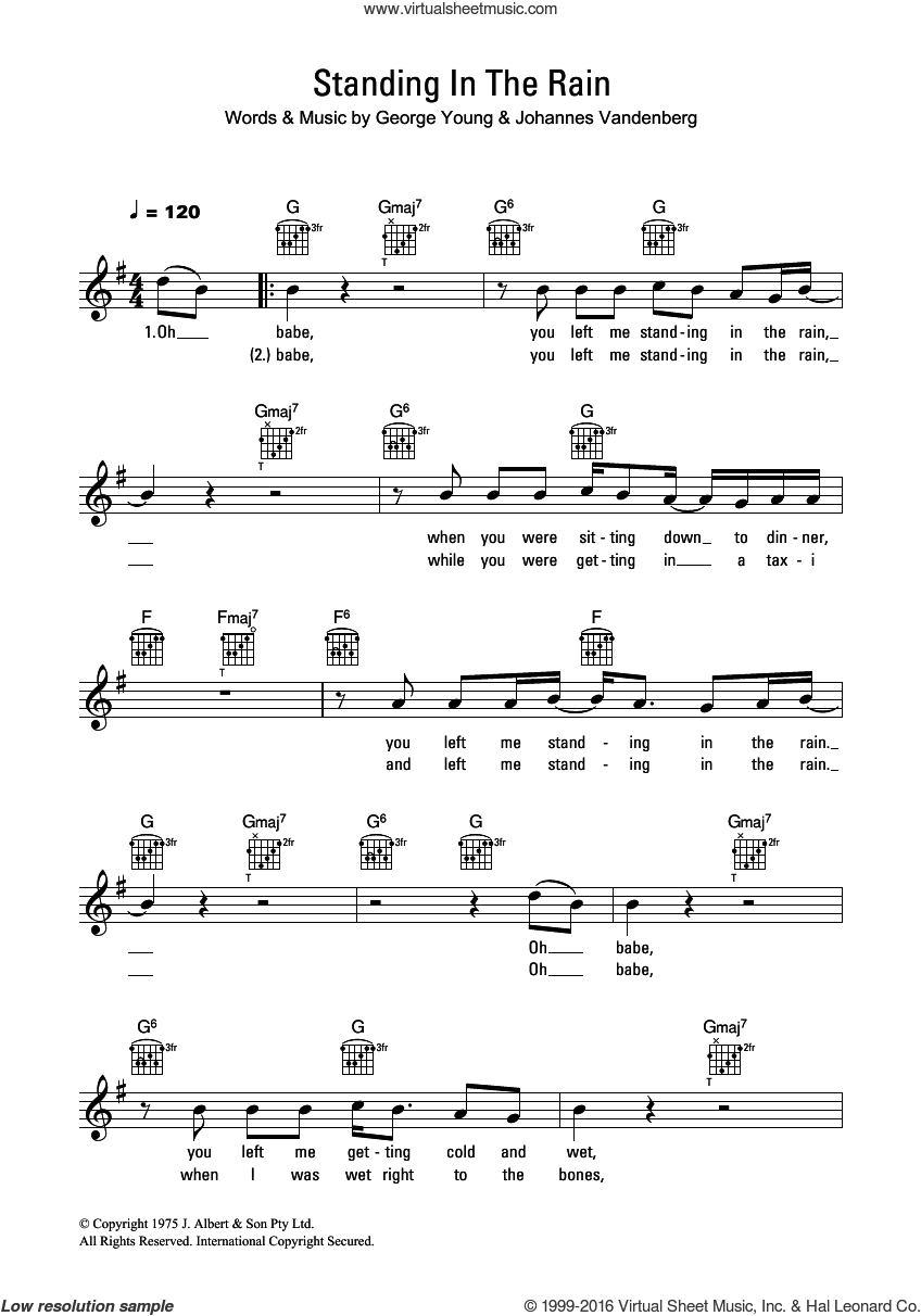 Standing In The Rain sheet music for voice and other instruments (fake book) by John Paul Young, intermediate voice. Score Image Preview.