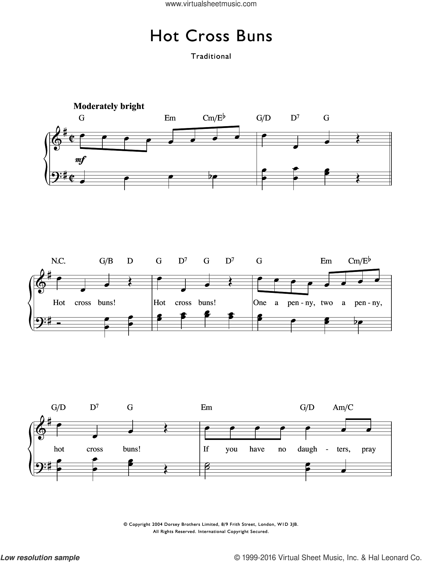 Hot Cross Buns sheet music for voice and piano by Traditional Nursery Rhyme and Miscellaneous, intermediate voice. Score Image Preview.