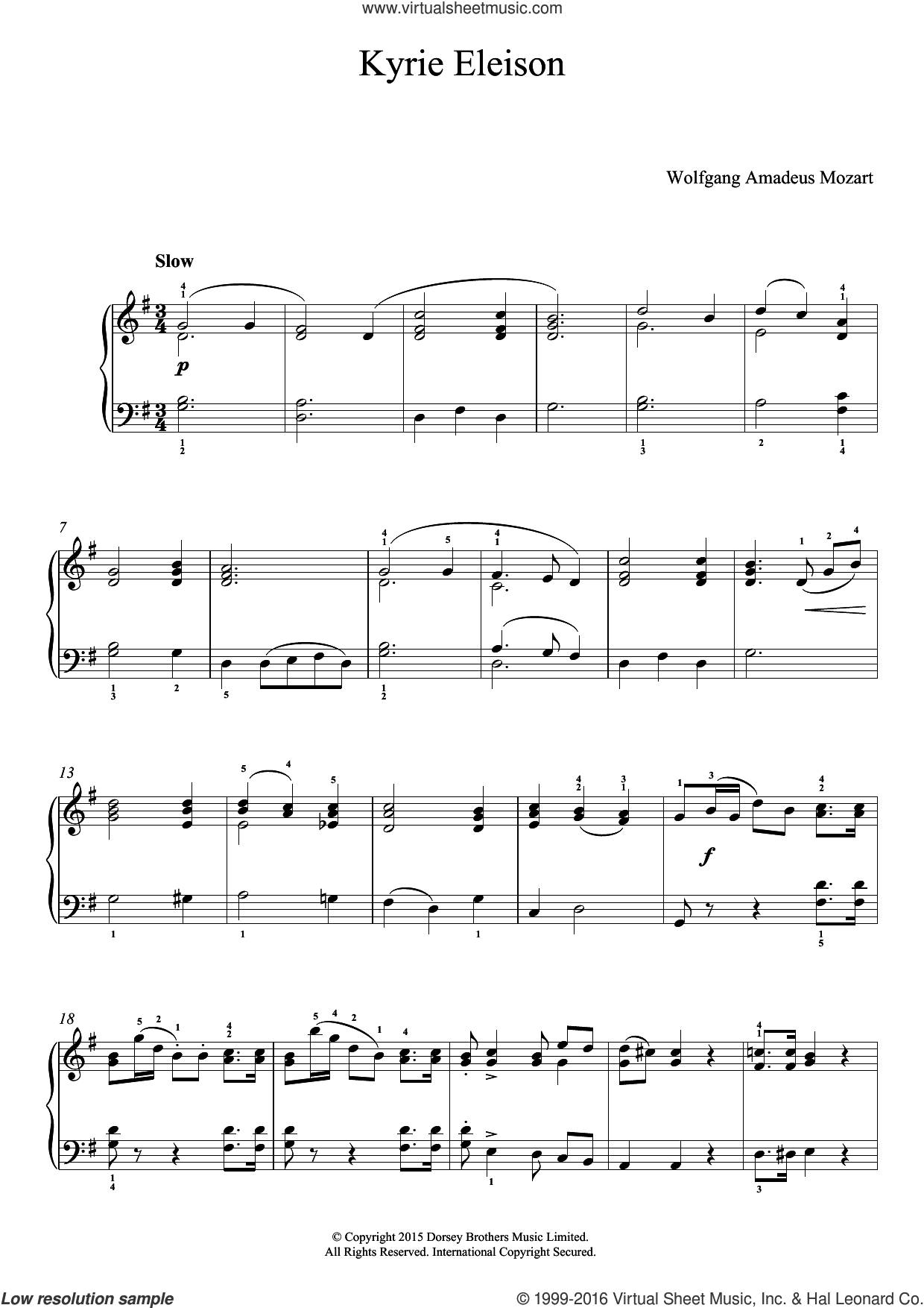 Kyrie Eleison (from 'Mass No.12') sheet music for piano solo by Wolfgang Amadeus Mozart, classical score, easy skill level