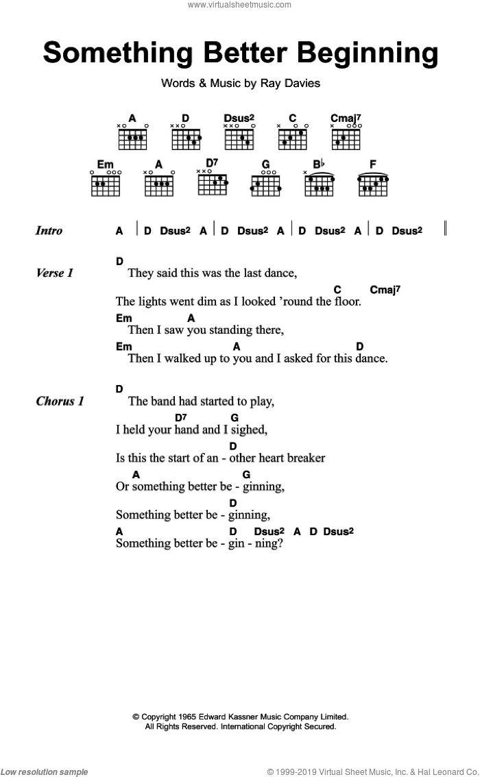 Something Better Beginning sheet music for guitar (chords) by The Kinks and Ray Davies. Score Image Preview.